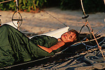The boat trampoline is an ideal place to sleep in. You just have to chock up the bottom of the catamaran with coconuts to make it horizontal,  unpack your sleeping bag and admire the stars. In case of rain, you also can put your tent directly on the trampoline.