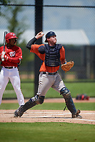 GCL Astros catcher Tyler Krabbe (56) throws down to second base during a Gulf Coast League game against the GCL Nationals on August 9, 2019 at FITTEAM Ballpark of the Palm Beaches training complex in Palm Beach, Florida.  GCL Nationals defeated the GCL Astros 8-2.  (Mike Janes/Four Seam Images)