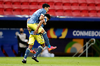 9th July 2021, Brasilia, Federal District, Brazil:  celebrating Colombia goal celebrated during match between Colombia and Peru  for 3rd place in Copa America 2021, held at Mane Garrincha stadium, in Brasilia, Federal District