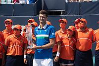 4th April 2021; Miami Gardens, Miami, Florida, USA;  Hubert Hurkacz (POL) holds the tournament trophy after wining the men's final of the Miami Open on April 4, 2021, at Hard Rock Stadium in Miami Gardens, Florida