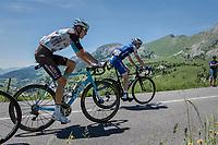 Daniel Martin (IRE/QuickStep Floors) & Romain Bardet (FRA/AG2R-La Mondiale) in tandem up the Col de la Colombière<br /> <br /> 69th Critérium du Dauphiné 2017<br /> Stage 8: Albertville > Plateau de Solaison (115km)
