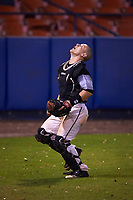 Wisconsin-Milwaukee Panthers catcher Daulton Varsho (10) tracks a foul ball popup during a game against the Ball State Cardinals on February 26, 2016 at Chain of Lakes Stadium in Winter Haven, Florida.  Ball State defeated Wisconsin-Milwaukee 11-5.  (Mike Janes/Four Seam Images)