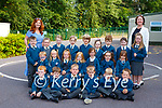Teachers Margaret Greene and Fiona O'Connor with her Junior Infants on their first day of school in Nagle Rice NS Milltown on Monday (names to follow)