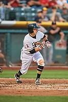 David Fletcher (15) of the Salt Lake Bees bunts against the Fresno Grizzlies at Smith's Ballpark on September 3, 2017 in Salt Lake City, Utah. The Bees defeated the Grizzlies 10-8. (Stephen Smith/Four Seam Images)