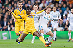 Luka Modric of Real Madrid (R) fights for the ball with Blaise Matuidi of Juventus (L) during the UEFA Champions League 2017-18 quarter-finals (2nd leg) match between Real Madrid and Juventus at Estadio Santiago Bernabeu on 11 April 2018 in Madrid, Spain. Photo by Diego Souto / Power Sport Images