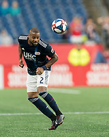 FOXBOROUGH, MA - JULY 17: Andrew Farrell #2 heads the ball during a game between Vancouver Whitecaps and New England Revolution at Gillette Stadium on July 17, 2019 in Foxborough, Massachusetts.