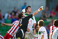 MELBOURNE, AUSTRALIA - January 2:  Justin Pasfield of the Fury punches the ball clear of goal during the round 21 A-League match between Melbourne Heart and North Queensland Fury at AAMI Park on January 2, 2011 in Melbourne, Australia. (Photo by Sydney Low / Asterisk Images)