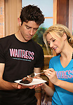 """Drew Gehling and Betsy Wolfe from the cast of """"Waitress"""" celebrate 'Sugar, Butter, Flour: The Waitress Pie Cookbook at The Brooks Atkinson Theatre on June 27, 2017 in New York City."""
