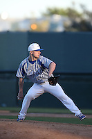 Cody Olsen (6) of the Hofstra Pride pitches during a game against the UCLA Bruins at Jackie Robinson Stadium on March 14, 2015 in Los Angeles, California. UCLA defeated Hofstra, 18-1. (Larry Goren/Four Seam Images)