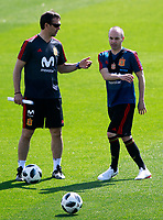 Spain's coach Julen Lopetegui with Andres Iniesta during training session. May 31,2018.(ALTERPHOTOS/Acero) /NortePhoto.com