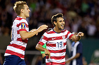 PORTLAND, Ore. - July 9, 2013: Chris Wondolowski reacts after Stuart Holden scores a goal. The US Men's National team plays the National team of Belize during the 2013 Gold Cup at at JELD-WEN Field.