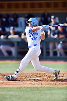 North Carolina Tar Heels designated hitter Ben Casparius (46) swings at a pitch during a game against the Pittsburgh Panthers at Boshamer Stadium on March 17, 2018 in Chapel Hill, North Carolina. The Tar Heels defeated the Panthers 4-0. (Tony Farlow/Four Seam Images)