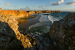 The cliffs of Sagres and the waves of the Atlantic in the Algarve region of Portugal.