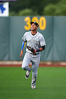 Kane County Cougars outfielder Victor Reyes (5) makes a play on a fly ball during a game against the Cedar Rapids Kernels on August 18, 2015 at Perfect Game Field in Cedar Rapids, Iowa.  Kane County defeated Cedar Rapids 1-0.  (Mike Janes/Four Seam Images)