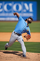 Tampa Bay Rays relief pitcher Hunter Wood (61) delivers a pitch during a Spring Training game against the Pittsburgh Pirates on March 10, 2017 at LECOM Park in Bradenton, Florida.  Pittsburgh defeated New York 4-1.  (Mike Janes/Four Seam Images)