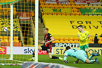 17th April 2021; Carrow Road, Norwich, Norfolk, England, English Football League Championship Football, Norwich versus Bournemouth; Sam Surridge of Bournemouth meets the cross and scores for 1-1 in the 50th minute