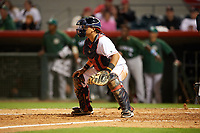 Florida Fire Frogs catcher Jonathan Morales (4) waits for a throw during a game against the Daytona Tortugas on April 6, 2017 at Osceola County Stadium in Kissimmee, Florida.  Daytona defeated Florida 3-1.  (Mike Janes/Four Seam Images)