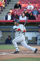 Alejandro Garcia (7) of the Lancaster JetHawks bats against the High Desert Mavericks at Heritage Field on April 23, 2016 in Adelanto, California. High Desert defeated Lancaster, 10-9. (Larry Goren/Four Seam Images)