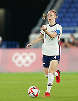 YOKOHAMA, JAPAN - JULY 30: Becky Sauerbrunn #4 of the United States directs her team during a game between Netherlands and USWNT at International Stadium Yokohama on July 30, 2021 in Yokohama, Japan.