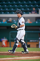 Lakeland Flying Tigers catcher Austin Athmann (19) during a game against the Fort Myers Miracle on August 7, 2018 at Publix Field at Joker Marchant Stadium in Lakeland, Florida.  Fort Myers defeated Lakeland 5-0.  (Mike Janes/Four Seam Images)