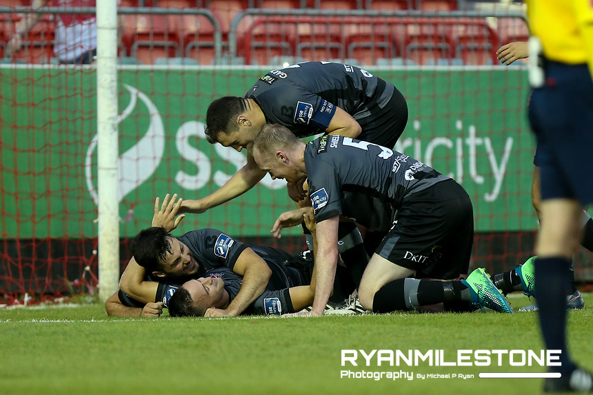 Dundalk players celebrate Patrick Hoban goal during the SSE Airtricity League Premier Division game between St Patrick's Athletic and Dundalk on Friday 5th July 2018 at Richmond Park, Dublin. Photo By Michael P Ryan