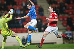 St Johnstone v Ross County....29.11.14   Scottish Cup 4th Round<br /> Brian Graham fires a shot off the post<br /> Picture by Graeme Hart.<br /> Copyright Perthshire Picture Agency<br /> Tel: 01738 623350  Mobile: 07990 594431