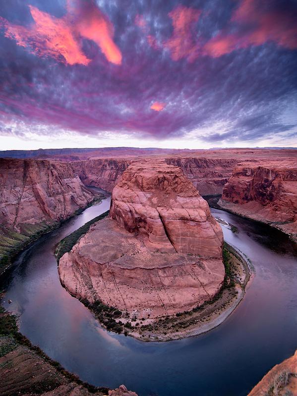 Sunset at Horseshoe Bend on the Colorado River. Arizona