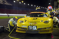 The GTS class leading #2 Corvette makes a 10:00 pit stop..39th Rolex 24 at Daytona, 3/4 February,2001 Daytona International Speedway  Daytona Beach,Florida,USA.©F.Peirce Williams 2001 .