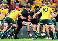 7th November 2020, Brisbane, Australia; Tri Nations International rugby union, Australia versus New Zealand;  Scott Barrett of the All Blacks (centre) in action