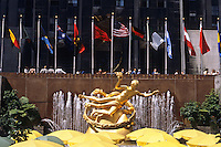 New York City: Rockefeller Plaza--Sculpture of Prometheus by Paul Manship. Featured prominently in sunken plaza.