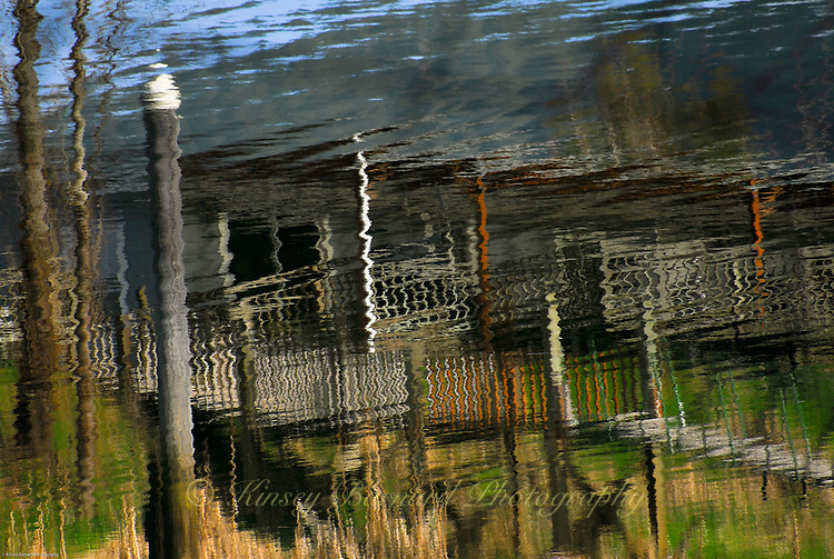 """""""CABIN ON THE SUISLAW""""<br /> <br /> You can't rent this cabin. It's just an illusion. But, it isn't bad just to look at. Reflections of a cabin on the Suislaw River in Oregon. ORIGINAL 24 X 36 GALLERY WRAPPED CANVAS SIGNED BY THE ARTIST $2,500. CONTACT FOR AVAILABILITY."""