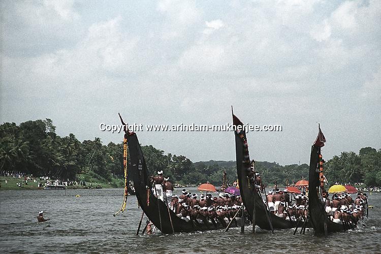 Vallamkali (Snake boats race) at Aranmulla is one of the most respected celebration during Onam Festival, Aranmula, Allepey, Kerala, India.