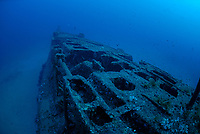 poop deck of submarine wreck of Le Rubis, 130 feet ( 40 meters ) depth. sunk on purpose on January 31st, 1958 as an artificial reef, Saint Tropez, France, Mediterranean Sea