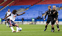 Bolton Wanderers' Peter Kioso shoots at goal <br /> <br /> Photographer Andrew Kearns/CameraSport<br /> <br /> The EFL Sky Bet League Two - Bolton Wanderers v Oldham Athletic - Saturday 17th October 2020 - University of Bolton Stadium - Bolton<br /> <br /> World Copyright © 2020 CameraSport. All rights reserved. 43 Linden Ave. Countesthorpe. Leicester. England. LE8 5PG - Tel: +44 (0) 116 277 4147 - admin@camerasport.com - www.camerasport.com