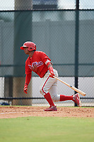 Philadelphia Phillies second baseman Brayan Gonzalez (38) at bat during an Instructional League game against the Toronto Blue Jays on September 30, 2017 at the Carpenter Complex in Clearwater, Florida.  (Mike Janes/Four Seam Images)