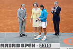 Spanish tennis Rafael Nadal with the tennis legend Manolo Santana, Queen Sofia of Spain and the Mutua Madrilena's President Ignacio Garralda after Madrid Open Tennis 2015 Final match.May, 10, 2015.(ALTERPHOTOS/Acero)