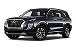 Stock pictures of low aggressive front three quarter view of a 2020 Hyundai Palisade SEL 5 Door SUV
