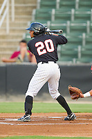 Jacob May (20) of the Kannapolis Intimidators at bat against the Lakewood BlueClaws at CMC-Northeast Stadium on August 14, 2013 in Kannapolis, North Carolina.  The Intimidators defeated the BlueClaws 10-2.  (Brian Westerholt/Four Seam Images)