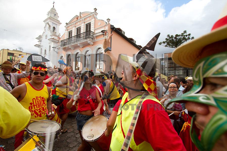 ATENCAO EDITOR FOTO EMBARGADA PARA VEICULO INTERNACIONAL .CURITIBA, PR, 20 DE JANEIRO DE 2013 - GARIBALDIS E SACIS - Começou na tarde de domingo (20), no Largo da Ordem, região central, o carnaval curitibano com a saída do bloco Garibaldis e Sacis. O evento traz o carnaval às ruas de Curitiba nos quatro domingos que antecedem a festa popular brasileira. No ano passado o bloco virou notícia quando a tropa de choque da Polícia Militar do Paraná foi acionada após um início de confusão. (FOTO: ROBERTO DZIURA JR./ BRAZIL PHOTO PRESS)