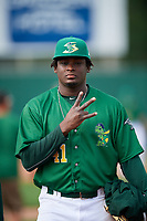 Beloit Snappers pitcher Wandisson Charles (41) poses for a photo after a game against the Dayton Dragons on July 22, 2018 at Pohlman Field in Beloit, Wisconsin.  Dayton defeated Beloit 2-1.  (Mike Janes/Four Seam Images)