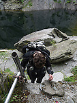 Careful footing on the ladder into Hodge Close