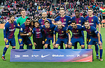 Players of of FC Barcelona line up and pose for a photo with daughters of Jose Paulo Bezerra Maciel Junior, Paulinho, prior to the La Liga 2017-18 match between FC Barcelona and Levante UD at Camp Nou on 07 January 2018 in Barcelona, Spain. Photo by Vicens Gimenez / Power Sport Images