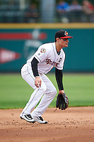 Rochester Red Wings shortstop Tommy Field (59) during a game against the Indianapolis Indians on May 26, 2016 at Frontier Field in Rochester, New York.  Indianapolis defeated Rochester 5-2.  (Mike Janes/Four Seam Images)