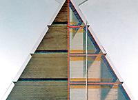 R. Buckminster Fuller. City of the Future. 2nd floors; 3 triangular walls, 5000 living units apiece. (PLAYBOY--CA. 1970-71)