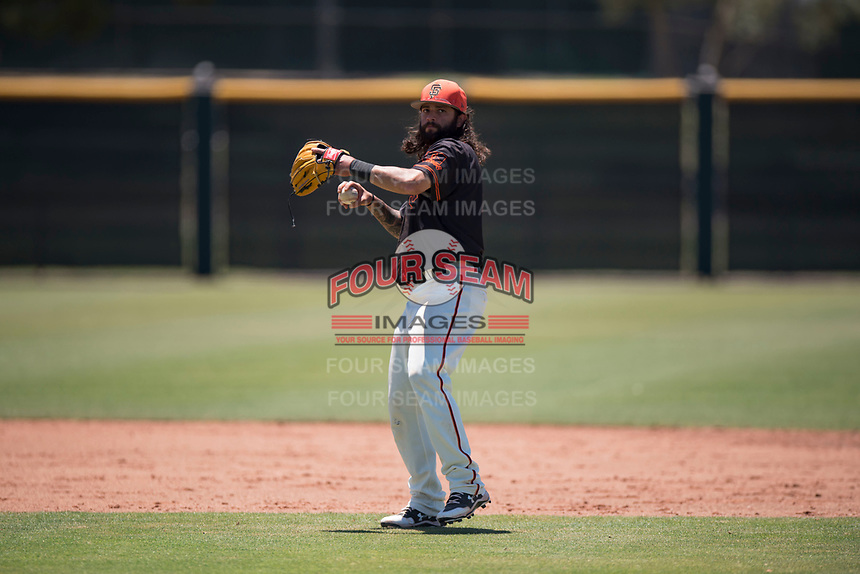 San Francisco Giants Black shortstop CJ Hinojosa (45) during an Extended Spring Training game against the Los Angeles Angels at the San Francisco Giants Training Complex on May 25, 2018 in Scottsdale, Arizona. (Zachary Lucy/Four Seam Images)