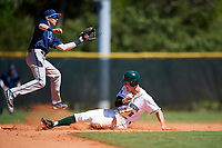 Dartmouth Big Green left fielder Dustin Shirley (6) steals second base as shortstop Pat O'Neill catches the throw down during a game against the Villanova Wildcats on March 3, 2018 at North Charlotte Regional Park in Port Charlotte, Florida.  Dartmouth defeated Villanova 12-7.  (Mike Janes/Four Seam Images)