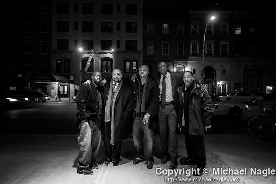 Antron McCray, Raymond Santana, Kevin Richardson, Yusef Salaam, and Korey Wise, all of whom served prison sentences after being wrongly convicted in the Central Park Jogger case, pose outside of the SVA Theater before the New York premiere of Ken Burns' Central Park Five documentary on November 15, 2012.   Their convictions were vacated in 2002, after the confession of Mathias Reyes, who was already serving a life sentence for rape and murder.  Reyes' DNA linked him to the crime.  Photograph by Michael Nagle