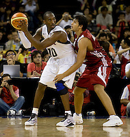 US Men's Basketball team guard (10) Kobe Bryant looks to pass the ball while being defended by Turkish forward (4) Cenk Akyol at the Cotai Arena in the Venetian Macau Hotel & Resort.  The US defeated Turkey, 114-82.