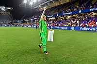 ORLANDO, FL - MARCH 05: GK Ashlyn Harris #18 of the United States celebrates during a game between England and USWNT at Exploria Stadium on March 05, 2020 in Orlando, Florida.