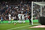 Real Madrid's Cristiano Ronaldo (c), Jesus Vallejo (l) and Carlos Henrique Casemiro and Malaga CF's   during La Liga match. November 25,2017. (ALTERPHOTOS/Villa)